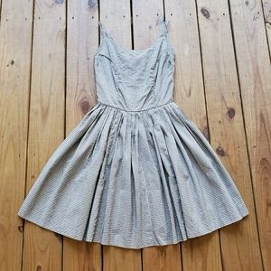 True vintage 50's black white gingham sun dress